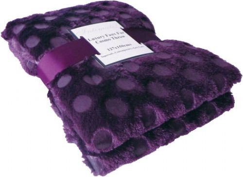 AUBERGINE PURPLE COLOUR CIRCLES FAUX FUR THROW